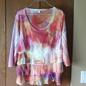 Coldwater Creek Watercolor Layered Shirt
